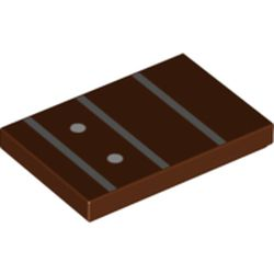 LEGO part 26603pr0061 Tile 2 x 3 with Guitar Finger Board, Frets, Position Markers print in Reddish Brown