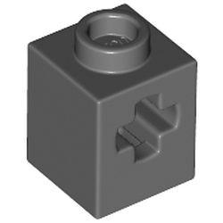 LEGO part 73230 Technic Brick 1 x 1 with Axle Hole in Dark Stone Grey / Dark Bluish Gray