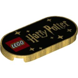 LEGO part 66857pr0012 Tile Round 2 x 4 with Black Baground, LEGO Logo, 'Harry Potter', Stars print in Warm Gold/ Pearl Gold
