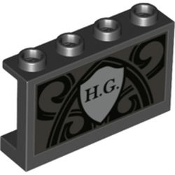 LEGO part 14718pr0011 Panel 1 x 4 x 2 with Side Supports - Hollow Studs with Light Bluish Grey Shield, 'H. G.', Black Decorations print in Black