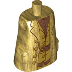 LEGO part 39772pr0005 Torso Large, Long Coat with Molded Pockets, Copper Shirt and Belt Print (Hagrid) in Warm Gold/ Pearl Gold