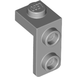 LEGO part 79389 Bracket 1 x 1 - 1 x 2 in Medium Stone Grey/ Light Bluish Gray
