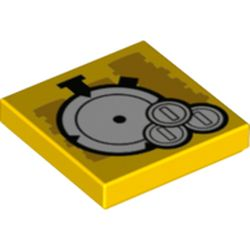 LEGO part 3068bpr0551 Tile 2 x 2 with Stopwatch, Medals print in Bright Yellow/ Yellow