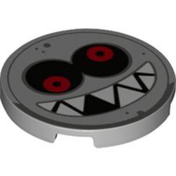 LEGO part 67095pr0012 Tile Round 3 x 3 with Face, Sharp Teeth, Red Eyes print in Medium Stone Grey/ Light Bluish Gray