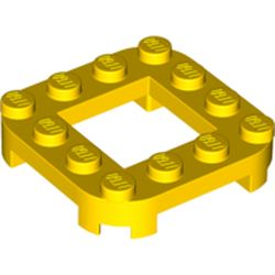 LEGO part 79387 Plate Round Corners 4 x 4 x 2/3 Circle with 2 x 2 Cutout in Bright Yellow/ Yellow