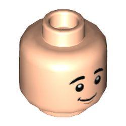 LEGO part 3626cpr3577 Minifig Head Ben, Raised Eyebrows, Slight Smile Print in Light Nougat