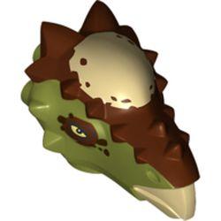 LEGO part 38434pr0002 Animal Body Part, Dinosaur, Stygimoloch Head with Reddish Brown Markings Print in Olive Green