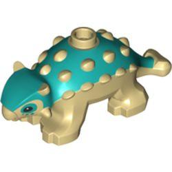 LEGO part 67443pr0001 Animal, Dinosaur, Ankylosaurus, Baby with Tan Spikes and Legs Print in Bright Bluish Green/ Dark Turquoise