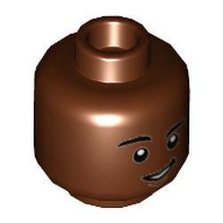 LEGO part 3626cpr3573 MINI HEAD, NO. 3573 in Reddish Brown