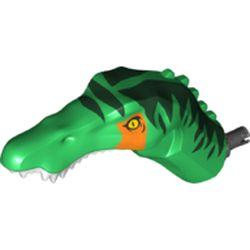 LEGO part 53309pr0002 Animal Body Part, Dinosaur, Baryonyx Head with Yellow Eyes, Dark Green Markings, Orange Stripe, White Teeth in Dark Green/ Green