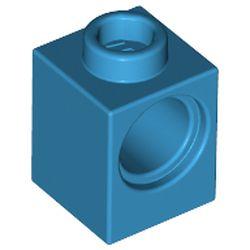 LEGO part 6541 Technic Brick 1 x 1 with Hole in Dark Azure