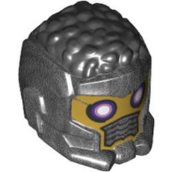 LEGO part 80801pr0001 Minifig Helmet, Curly Black Hair, Gold Face, Dark Purple/Bright Pink Eyes, Grill print in Titanium Metallic/ Pearl Dark Gray