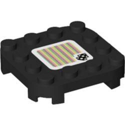 LEGO part 66792pr0127 PLATE 4X4X2/3, W/ STICKER NO. 127 in Black