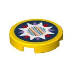 LEGO part 14769pr0144 Tile Round 2 x 2 with Lavender/Red/White Star and Barcode Print (Sticker) in Bright Yellow/ Yellow