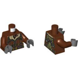 LEGO part 973c19h12pr5806 MINI UPPER PART, NO. 5806 in Reddish Brown