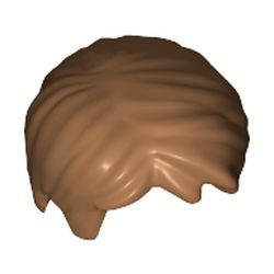 LEGO part 62810 Minifig Hair Short, Tousled with Side Part in Medium Nougat