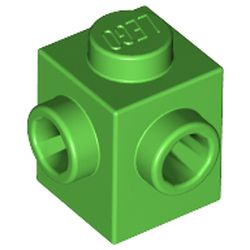 LEGO part 26604 Brick Special 1 x 1 with Studs on 2 Adjacent Sides in Bright Green