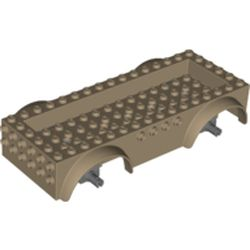 LEGO part 65094 Vehicle Base 8 x 16 with Wheel Arches, Front and Side Studs, and 4 x 14 Recessed Studded Section, 5 Holes in Sand Yellow/ Dark Tan