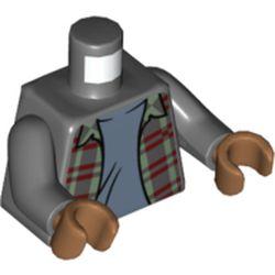 LEGO part 973c12h23pr5811 MINI UPPER PART, NO. 5811 in Dark Stone Grey / Dark Bluish Gray