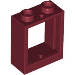 LEGO part 60592 Window 1 x 2 x 2 Flat Front in Dark Red