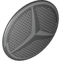 LEGO part 75902pr0028 Minifig Shield Round Bowed with Light Bluish grey Mercedes Logo print in Black