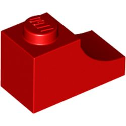 LEGO part 78666 Brick Curved 2 x 1 with Inverted Cutout in Bright Red/ Red