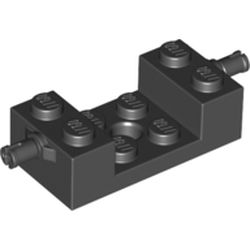 LEGO part 42947 Brick Special 2 x 4 with Wheels Holder, Cross Slit with 2 x 2 Cutout in Black