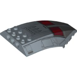 LEGO part 45705pr0007 Windscreen 10 x 6 x 2 Curved with Cockpit, Dark Red Windows print in Sand Blue