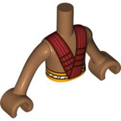 LEGO part 11408c02pr0001 Minidoll Torso Boy with Bright Light Orange Waist, Red Straps Print in Medium Nougat
