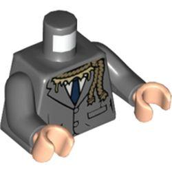 LEGO part 973c12h02pr5830 MINI UPPER PART, NO. 5830 in Dark Stone Grey / Dark Bluish Gray