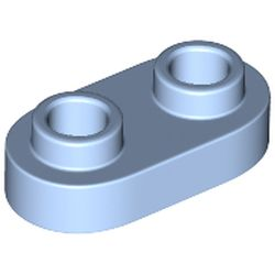 LEGO part 35480 Plate Special 1 x 2 Rounded with 2 Open Studs in Light Royal Blue/ Bright Light Blue