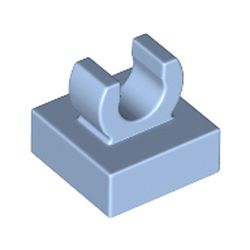 LEGO part 15712 Tile Special 1 x 1 with Clip with Rounded Edges in Light Royal Blue/ Bright Light Blue