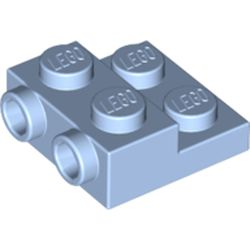 LEGO part 99206 Plate Special 2 x 2 x 0.667 with Two Studs On Side and Two Raised in Light Royal Blue/ Bright Light Blue