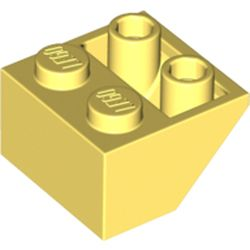 LEGO part 3660 Slope Inverted 45° 2 x 2 [Ovoid Bottom Pin, Bar-sized Stud Holes] in Cool Yellow/ Bright Light Yellow