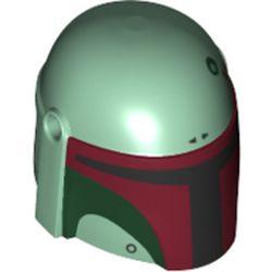 LEGO part 87610pr0364 Minifig Helmet Mandalorian with Holes with Black Visor, Dark Red/Dark Green Markings Print (Boba Fett) in Sand Green