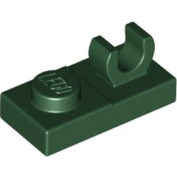LEGO part 44861 Plate Special 1 x 2 [Open O Top Clip] in Earth Green/ Dark Green