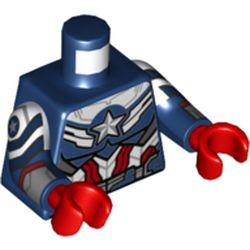 LEGO part 973g27c05h22pr0001 Torso, Dual Molded Arms, Silver/White Armour, Start, Red Stripes print with White Sleeves Pattern, Dark Blue Arms, Red Hands [Plain] in Earth Blue/ Dark Blue