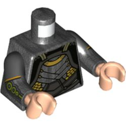 LEGO part 973g03c47h02pr0001 Torso, Dual Molded Arms, Silver Plates Armor, Gold Trim with Pearl Dark Grey Sleeves, Black Arms, Flesh Hands in Titanium Metallic/ Pearl Dark Gray
