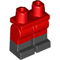 LEGO part 21019c00pat004 Legs and Hips with Black Boots Pattern in Bright Red/ Red