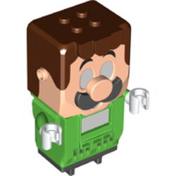LEGO part 77127 Hub, Luigi with 4 Top Studs and LCD Screens for Eyes and Chest in Bright Green