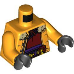 LEGO part 973c38h03pr5932 MINI UPPER PART, NO. 5932 in Flame Yellowish Orange/ Bright Light Orange