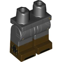 LEGO part 21019c00pat012pr0001 Legs and Hips with Dark Brown Boots Pattern and Light Bluish Grey Lines, Yellow Markings print in Black