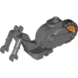 LEGO part 69869c02 Vehicle Base, Motorcycle Chassis with Orange Flywheel in Dark Stone Grey / Dark Bluish Gray