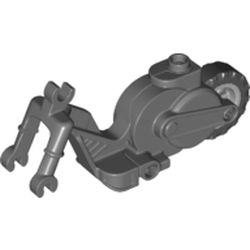 LEGO part 69869c01 Vehicle Base, Motorcycle Chassis with Light Bluish Gray Flywheel in Dark Stone Grey / Dark Bluish Gray