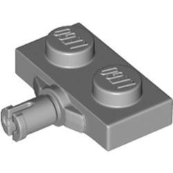LEGO part 66897 Plate Special 1 x 2 with Wheel Holder, Cross Slit in Medium Stone Grey/ Light Bluish Gray