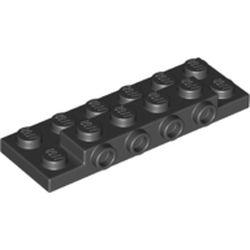 LEGO part 72132 PLATE 2X6X2/3 W 4 HOR. KNOB in Black