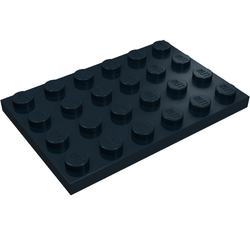 Lego 4 x Bauplatte flache Platte 3032 dunkelblau   4x6