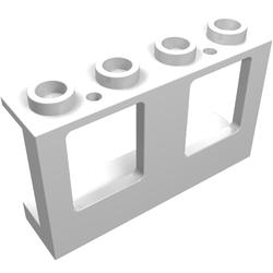 Lego 4863 @ @ window 1 x 4 x 2 plane with trans-light blue glass @ @ white white