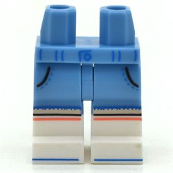 LEGO part 21019c00pat005pr9999 Legs and Hips with White Boots Pattern and Pockets, Light Flesh Knees, and Coral Stripe Print in Medium Blue