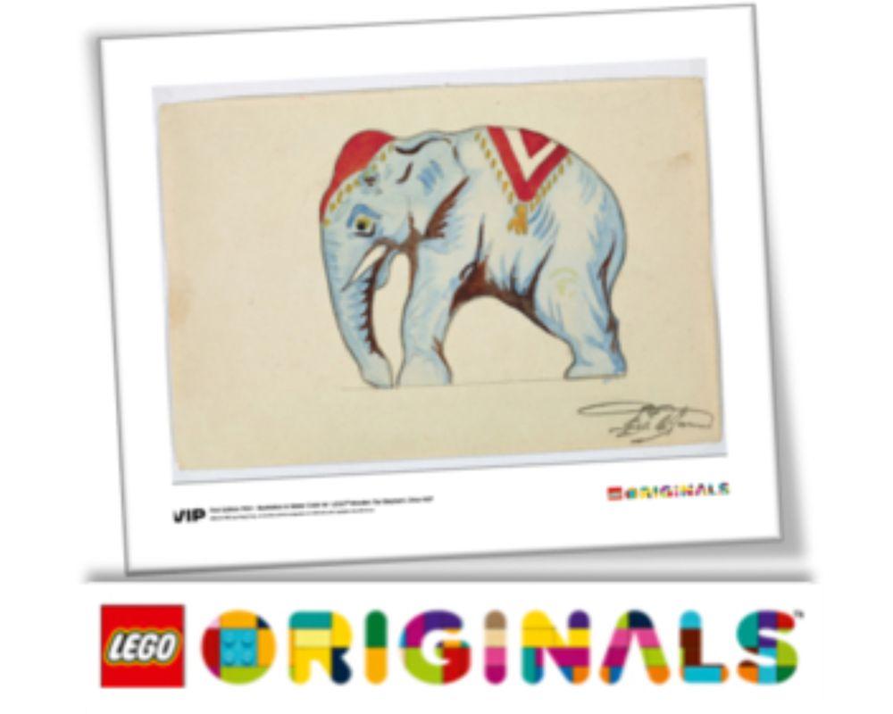 LEGO Set 5005997-1 1st Edition Elephant Water Colour Print, Circa 1937 (LEGO - Model)